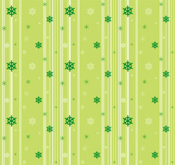 Green seamless background with snowflakes