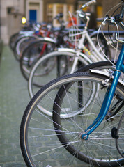 bicycles abstract, shallow focus.