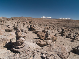 Cairns left by the natives. Peru.