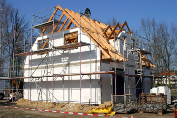Baustelle für ein Eigenheim