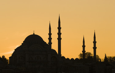 The Blue Mosque Silhouette during sunset in Istanbul
