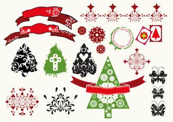 festive theme design elements Christmas trees, butterflies