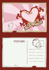 Grunge vector illustration of vintage postcard with heart