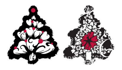 Grunge vector Christmas tree set with swirls and floral designs