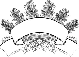 Baroque Leafs And Banner In Calligraphy Style.