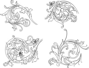 Baroque Rosette Traditional Style. All Curves Separately.