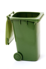 Green open recycle bin for garbage collection over white