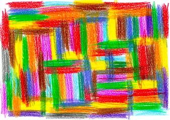 child pattern drawing, drawn by crayon