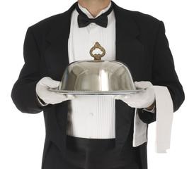 Waiter torso holding a silver tray