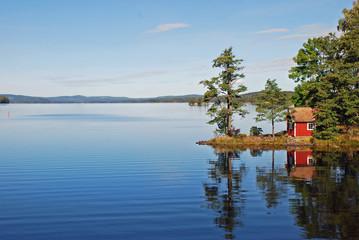 Reflection on still lake