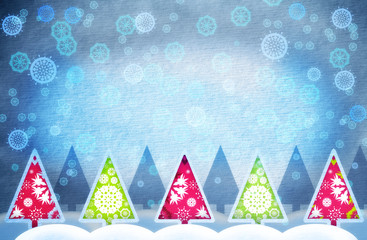 Grunge winter background with paper texture and Christmas