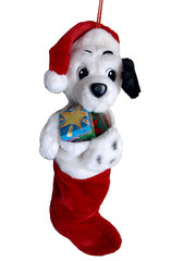Dalmation puppy in a stocking Christmas orniment.