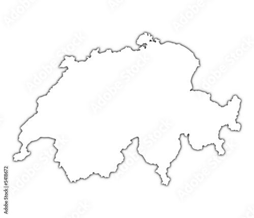 switzerland outline map with shadow