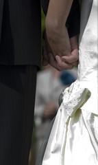 Wedding bouquet, holding hands