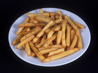 Fries on a white plate