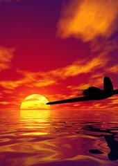 Fighter plane and scarlet sunset. 3D render work