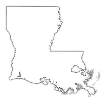 Louisiana (USA) outline map with shadow