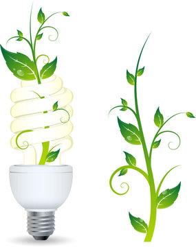 Ampoule avec plante qui pousse, image vectorielle