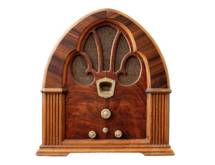 Old Tabletop Wooden Radio with White Background.