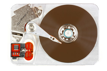 Open hard disk drive - data storage device, isolated on white.