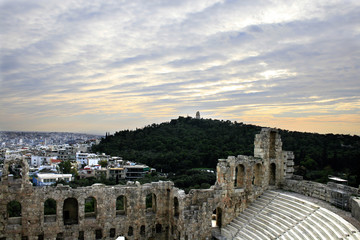 Athens, Greece - View of the ancient Herodus Atticus theatre