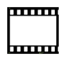 35mm black film strip isolated on white