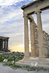 Athens, Greece - Acropolis: the Erechtheum and Parhtenon