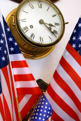 Aged Nautical Ship's Clock and American Flags