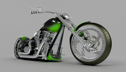 macho custom bike or motorcycle low angle