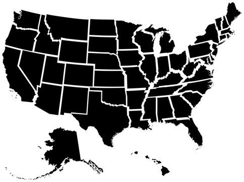 Detailed illustration of all fifty states