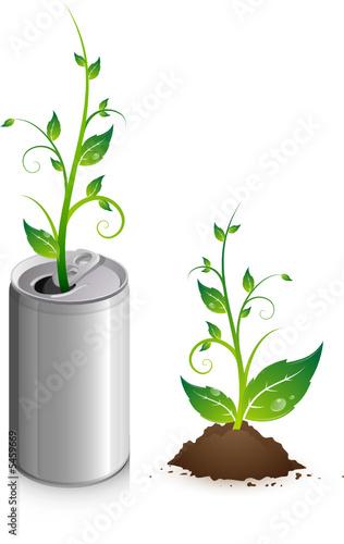 Canette de soda avec jeune plante qui pousse fichier for Plante qui pousse