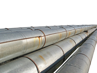 Steel pipe-line isolated on white background. 2007.
