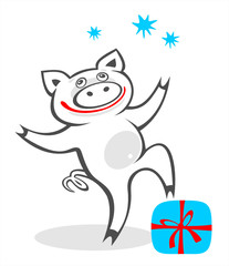 pig and gift