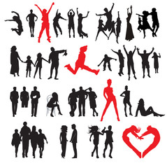 Silhouettes of people: business; family; sport; fashion; love