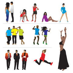 Silhouettes of people: business, sport, fashion, love