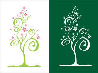 Stylized tree / with flowers / vector
