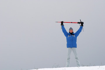 Winter exercising with nordic walking poles