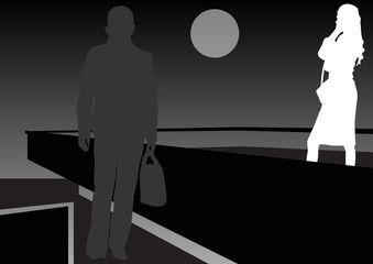 film noir man and woman at night