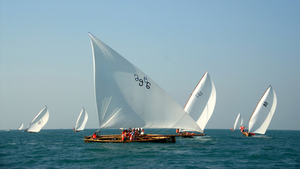 Competing Sailing Dhows In The Middle East