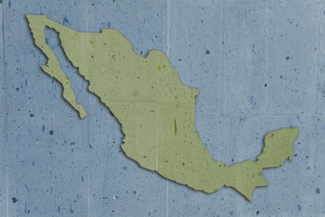 map of mexico in vintage stone texture, blue and green