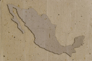 map of mexico in vintage stone texture