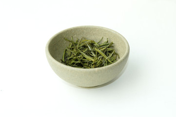 green tea in a clay cup