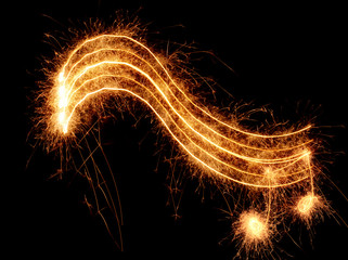 Sparkler music wave isolated on black background