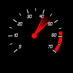 odometer with white digits and red blured pointer