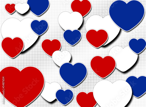 An Illustration Of Red White And Blue Hearts Stock Photo And