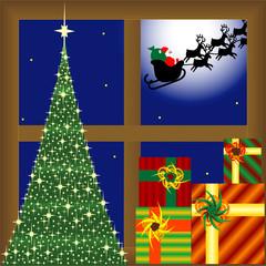 papa noel dejó sus regalos en  la ventana junto al árbol.