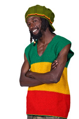 portrait of rasta man with traditional clothes
