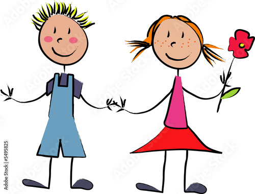 Couple D Enfant Amoureux Avec Fleur Photo Libre De Droits Sur La
