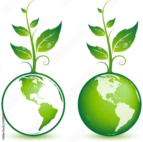 Planète Terre Avec Plante Verte Image Vectorielle Fichier
