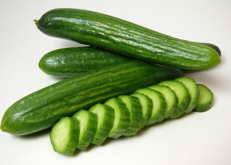 crisp slices of organic mediterranean cucumbers.
